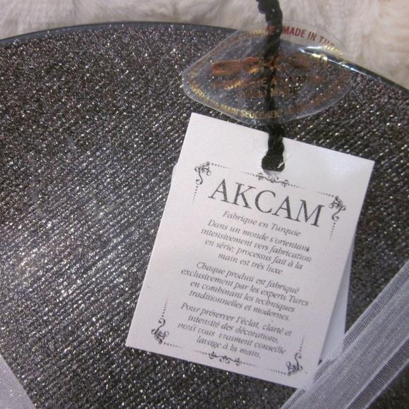 "AKCAM TURKISH GLASS GLITTERY SILVER  8 1//4/""  PLATES SET OF 4 HOLIDAY  NEW"